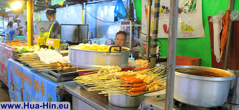 Eating Fried skewers Grand Market Hua Hin
