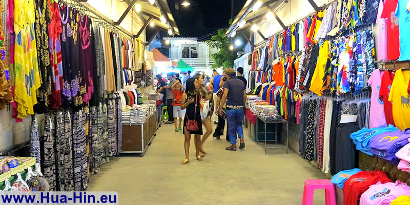 Buying T-shirts night market Hua Hin