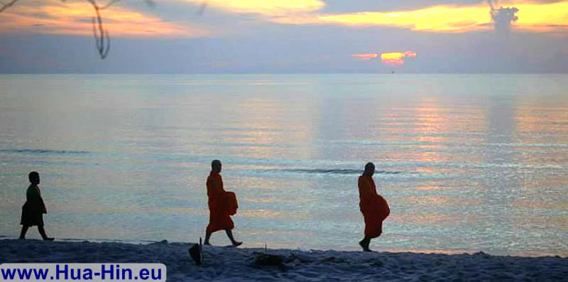 Monks on the beach of Hua Hin